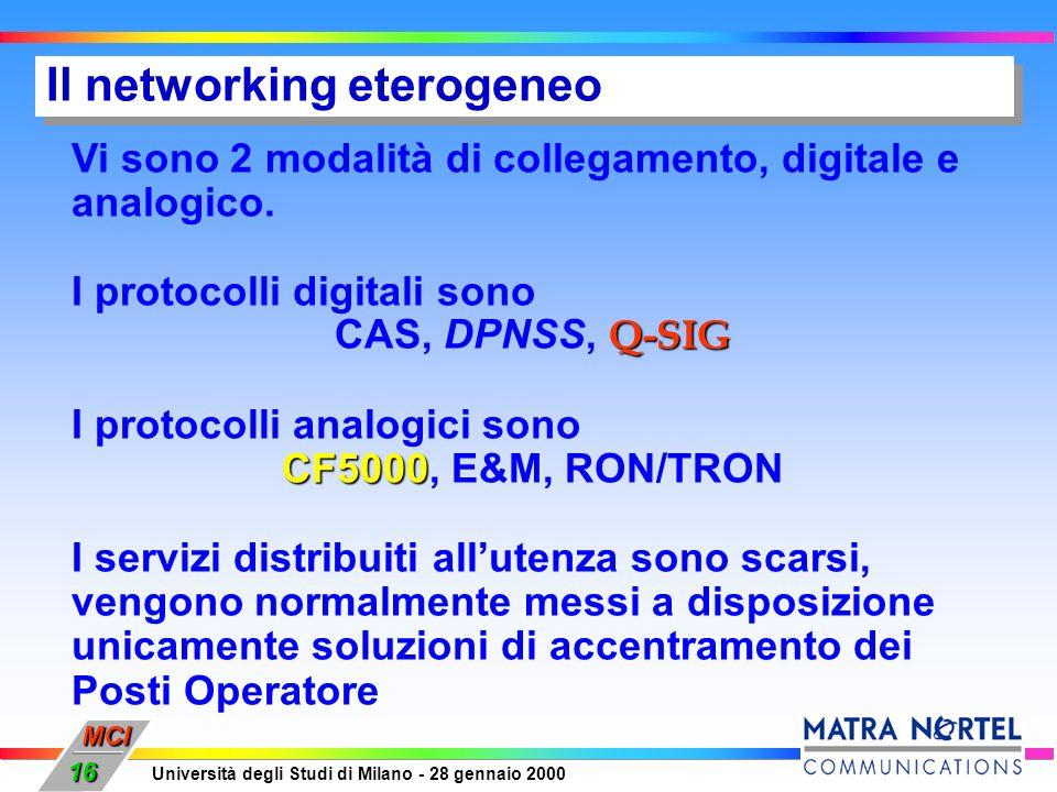 MCI Università degli Studi di Milano - 28 gennaio 2000 16 Il networking eterogeneo Vi sono 2 modalità di collegamento, digitale e analogico. I protoco
