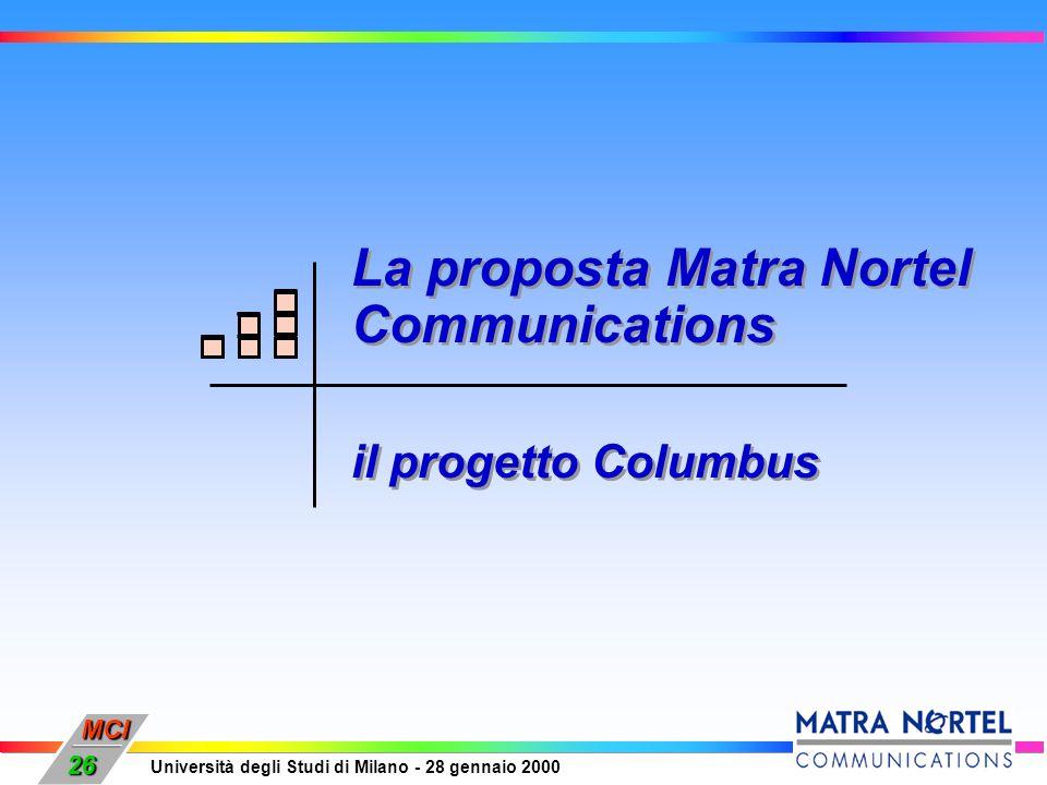 MCI Università degli Studi di Milano - 28 gennaio 2000 26 La proposta Matra Nortel Communications il progetto Columbus La proposta Matra Nortel Commun