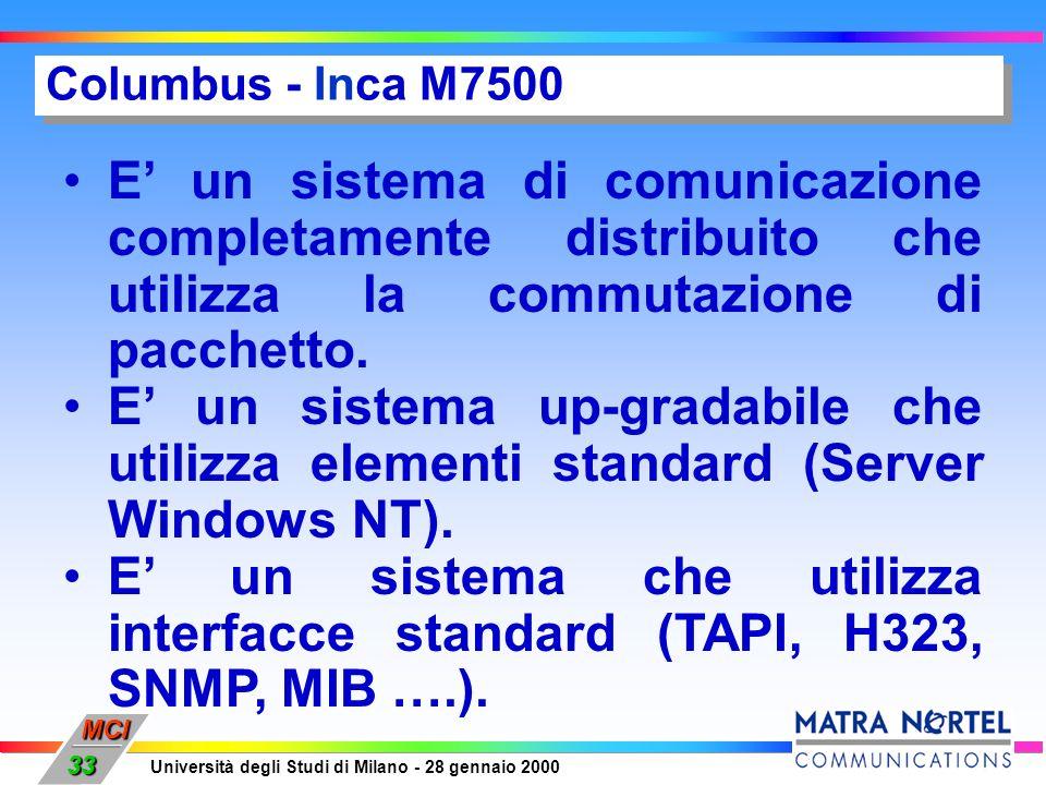 MCI Università degli Studi di Milano - 28 gennaio 2000 33 Columbus - Inca M7500 E un sistema di comunicazione completamente distribuito che utilizza l