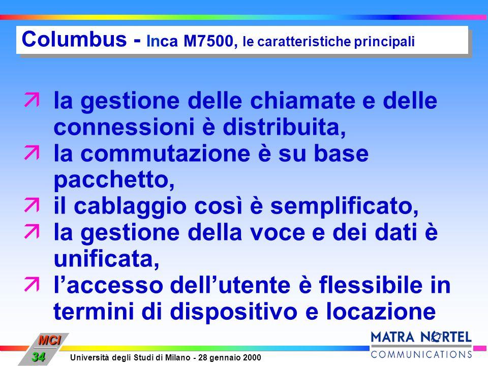MCI Università degli Studi di Milano - 28 gennaio 2000 34 Columbus - Inca M7500, le caratteristiche principali äla gestione delle chiamate e delle con