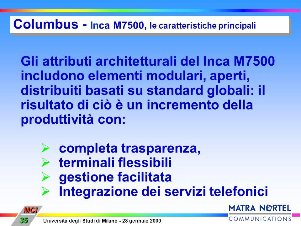 MCI Università degli Studi di Milano - 28 gennaio 2000 35 Columbus - Inca M7500, le caratteristiche principali Gli attributi architetturali del Inca M