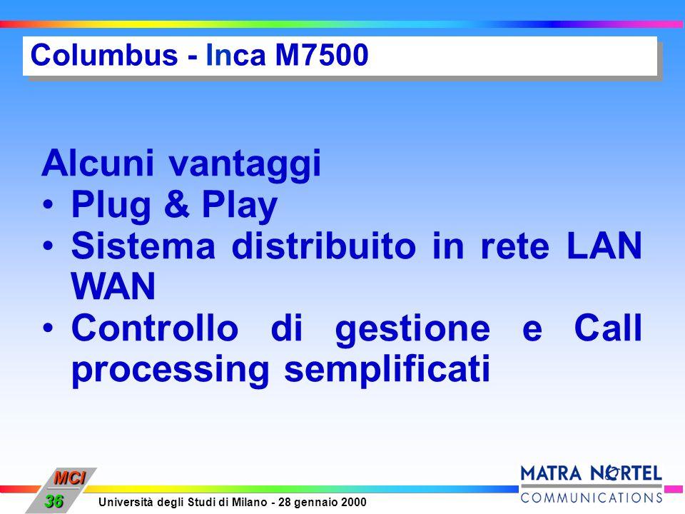 MCI Università degli Studi di Milano - 28 gennaio 2000 36 Columbus - Inca M7500 Alcuni vantaggi Plug & Play Sistema distribuito in rete LAN WAN Contro