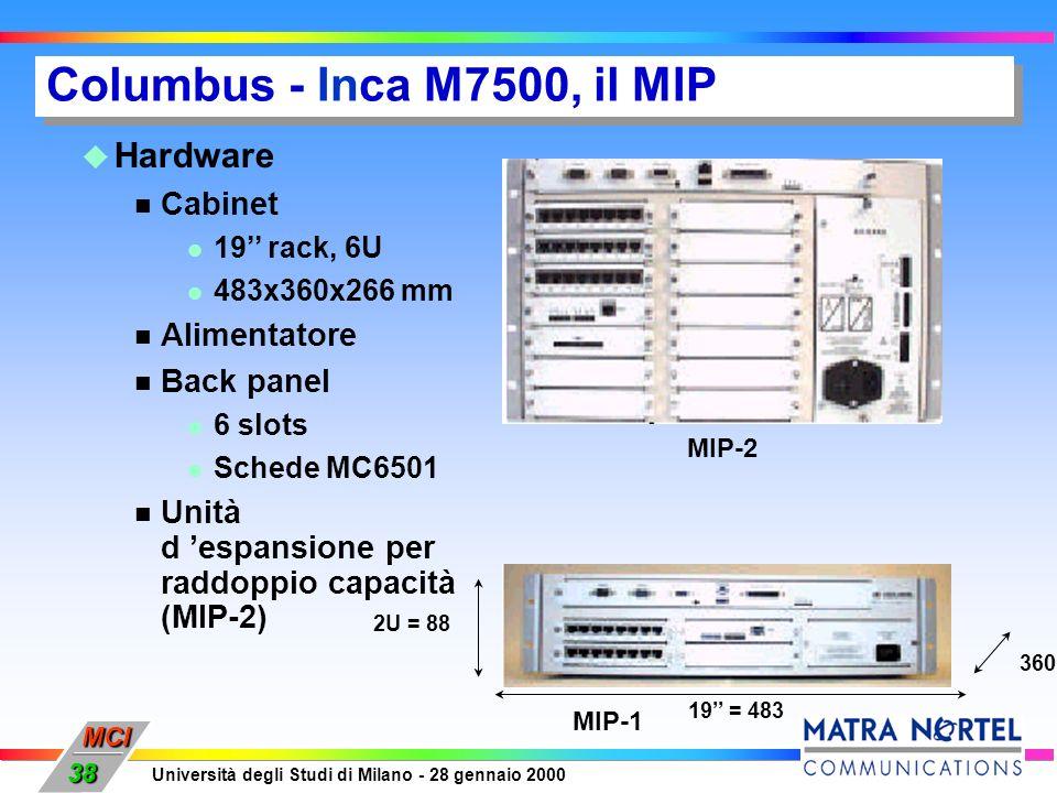 MCI Università degli Studi di Milano - 28 gennaio 2000 38 Hardware Cabinet 19 rack, 6U 483x360x266 mm Alimentatore Back panel 6 slots Schede MC6501 Un