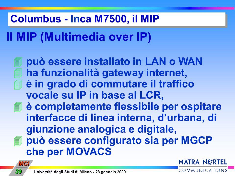 MCI Università degli Studi di Milano - 28 gennaio 2000 39 Columbus - Inca M7500, il MIP Il MIP (Multimedia over IP) 4può essere installato in LAN o WA