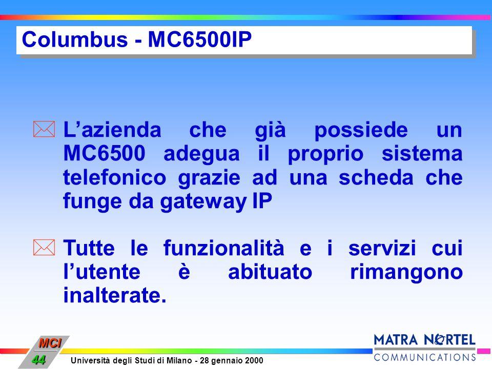 MCI Università degli Studi di Milano - 28 gennaio 2000 44 Columbus - MC6500IP Lazienda che già possiede un MC6500 adegua il proprio sistema telefonico