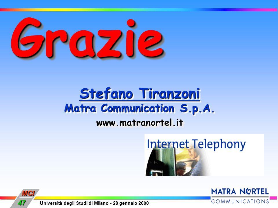 MCI Università degli Studi di Milano - 28 gennaio 2000 47 GrazieGrazie Stefano Tiranzoni Matra Communication S.p.A. Stefano Tiranzoni Matra Communicat