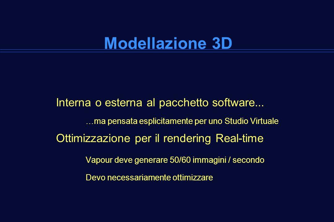 Modellazione 3D Interna o esterna al pacchetto software... …ma pensata esplicitamente per uno Studio Virtuale Ottimizzazione per il rendering Real-tim