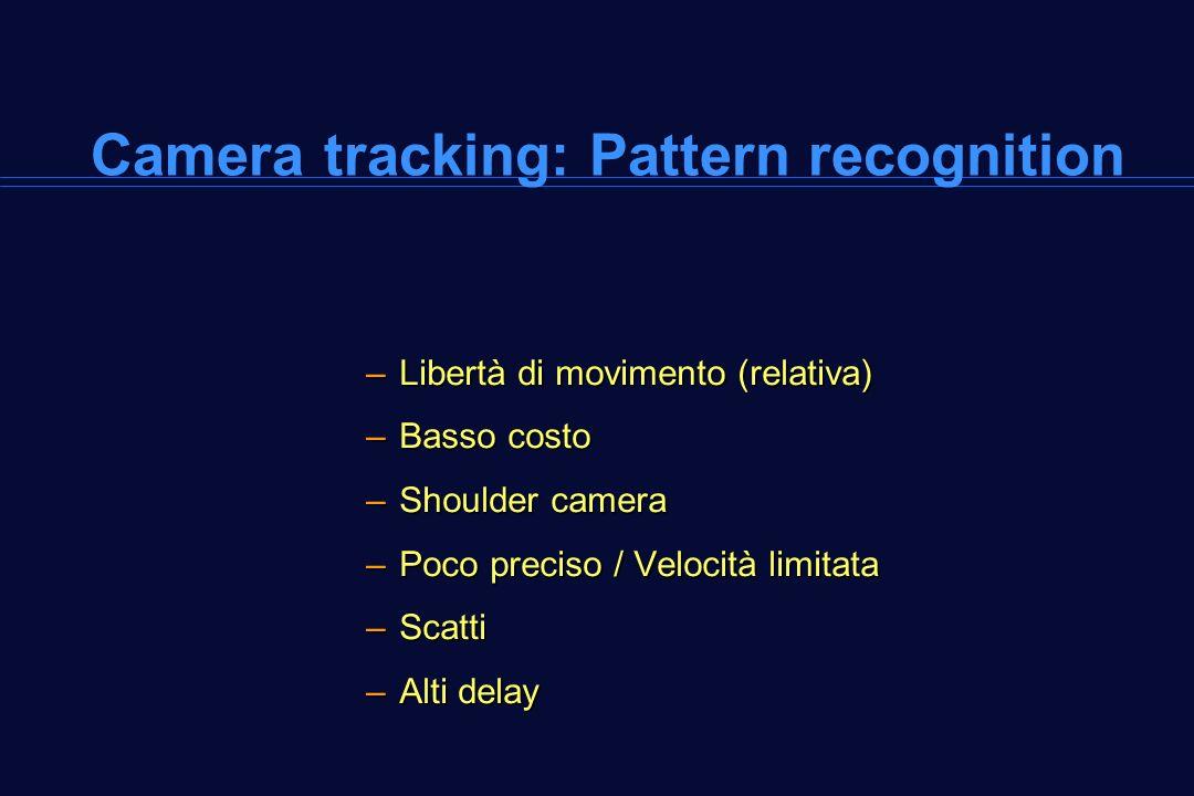 Camera tracking: Pattern recognition –Libertà di movimento (relativa) –Basso costo –Shoulder camera –Poco preciso / Velocità limitata –Scatti –Alti de