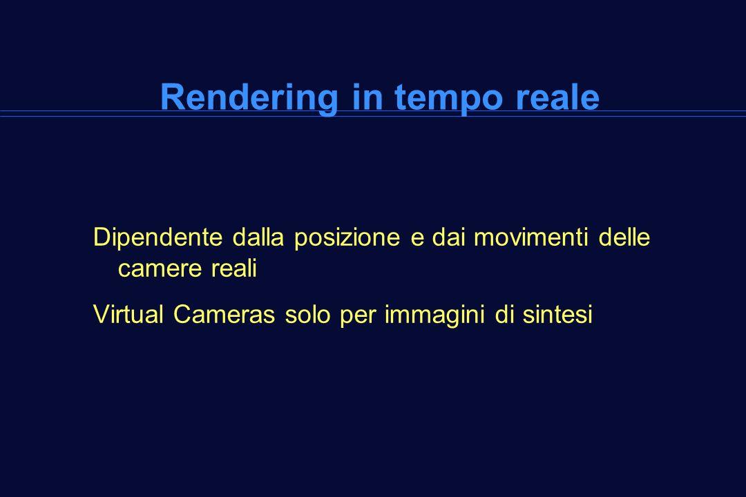 Rendering in tempo reale Dipendente dalla posizione e dai movimenti delle camere reali Virtual Cameras solo per immagini di sintesi