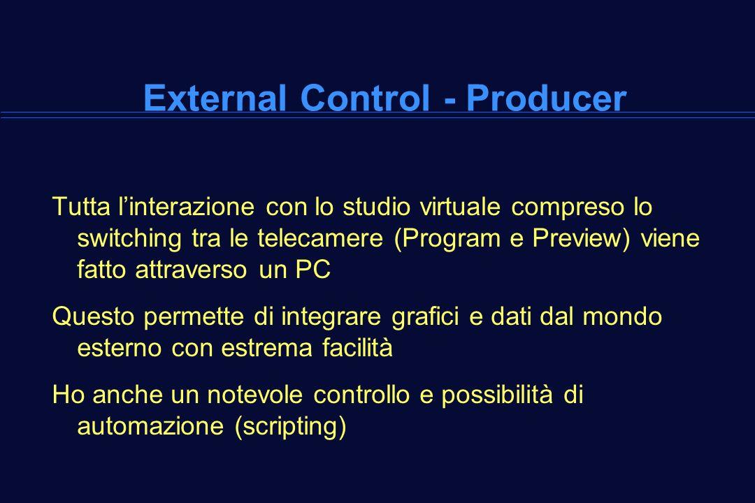 Tutta linterazione con lo studio virtuale compreso lo switching tra le telecamere (Program e Preview) viene fatto attraverso un PC Questo permette di