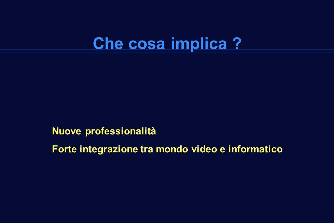 Che cosa implica ? Nuove professionalità Forte integrazione tra mondo video e informatico