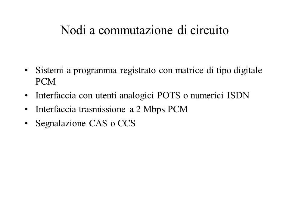 Nodi a commutazione di circuito Sistemi a programma registrato con matrice di tipo digitale PCM Interfaccia con utenti analogici POTS o numerici ISDN Interfaccia trasmissione a 2 Mbps PCM Segnalazione CAS o CCS