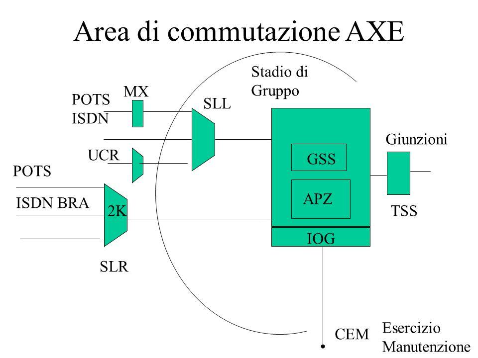 Area di commutazione AXE Giunzioni SLL SLR UCR MX Stadio di Gruppo Esercizio Manutenzione IOG CEM 2K POTS GSS TSS ISDN BRA APZ POTS ISDN
