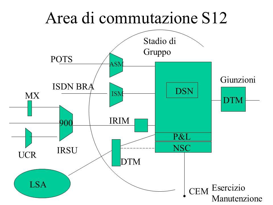 Area di commutazione S12 Giunzioni UCR MX Stadio di Gruppo Esercizio Manutenzione CEM POTS DSN NSC IRIM IRSU ASM ISM ISDN BRA DTM LSA DTM P&L 900