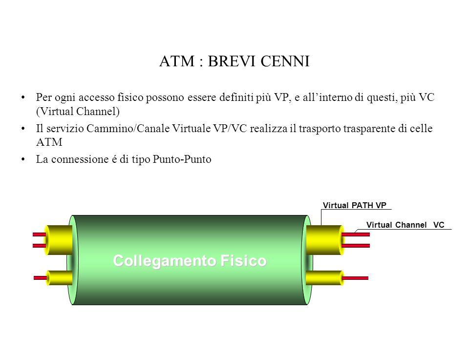 ATM : BREVI CENNI Per ogni accesso fisico possono essere definiti più VP, e allinterno di questi, più VC (Virtual Channel) Il servizio Cammino/Canale