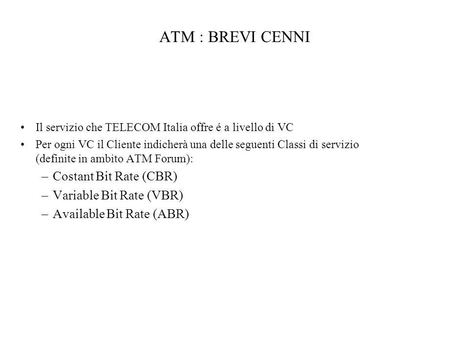 ATM : BREVI CENNI Il servizio che TELECOM Italia offre é a livello di VC Per ogni VC il Cliente indicherà una delle seguenti Classi di servizio (defin