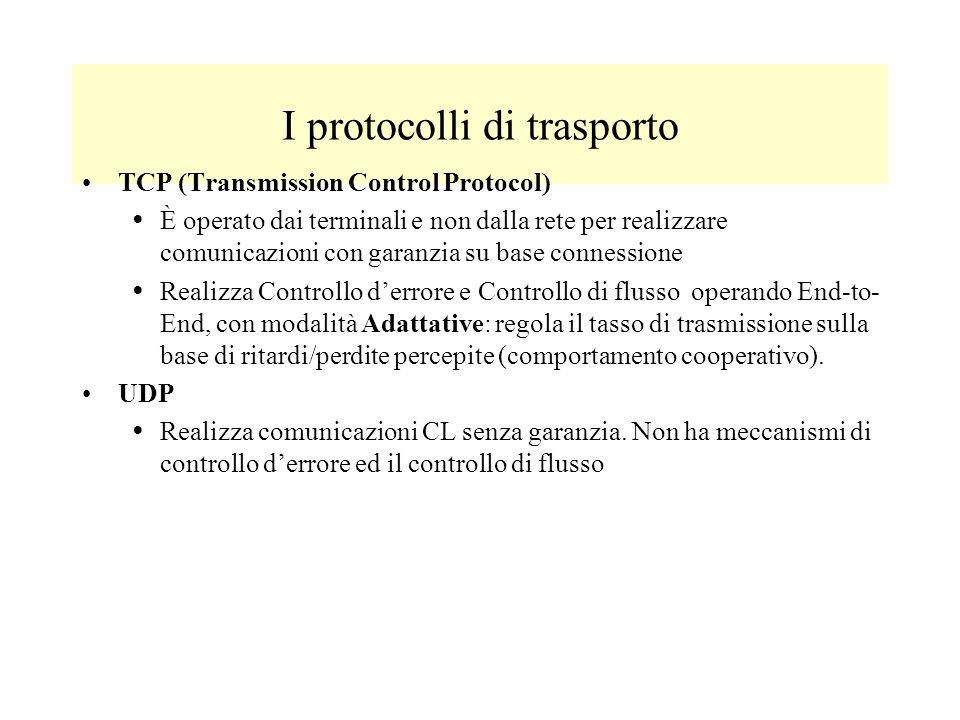 I protocolli di trasporto TCP (Transmission Control Protocol) È operato dai terminali e non dalla rete per realizzare comunicazioni con garanzia su base connessione Realizza Controllo derrore e Controllo di flusso operando End-to- End, con modalità Adattative: regola il tasso di trasmissione sulla base di ritardi/perdite percepite (comportamento cooperativo).