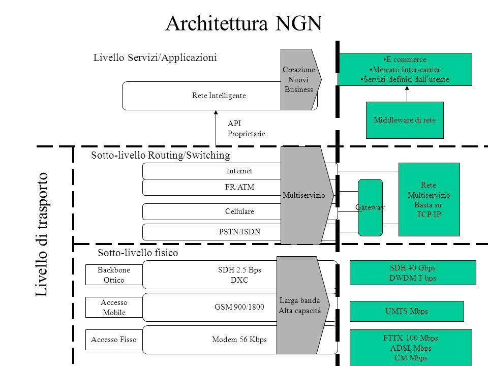 Architettura NGN Livello di trasporto Sotto-livello fisico Sotto-livello Routing/Switching Livello Servizi/Applicazioni Rete Intelligente Internet SDH
