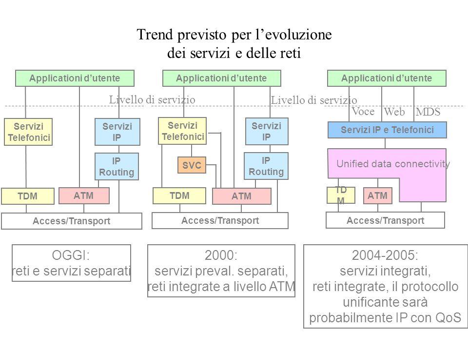 Trend previsto per levoluzione dei servizi e delle reti Access/Transport TDM Servizi Telefonici Servizi IP Routing OGGI: reti e servizi separati 2000: