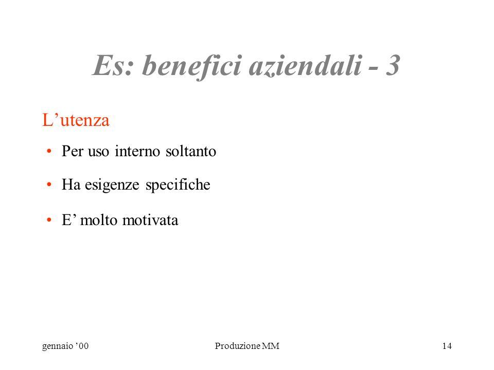 gennaio 00Produzione MM13 Es: benefici aziendali - 2 Contenuto Strutturare un esistente manuale cartaceo. Includere moduli per richieste. Aggiornabile