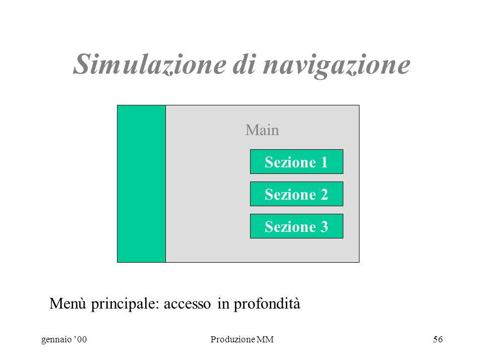 gennaio 00Produzione MM55 Navigazione - 2 Main Sez 3Sez 2 Sez 1 Arg 1Arg 3Arg 2 Il flowchart mostra la relazione gerarchica tra livelli ma non gli accessi diretti