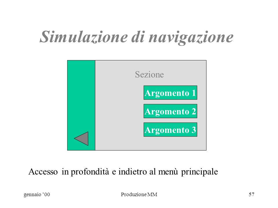gennaio 00Produzione MM56 Simulazione di navigazione Sezione 1 Sezione 2 Sezione 3 Menù principale: accesso in profondità Main