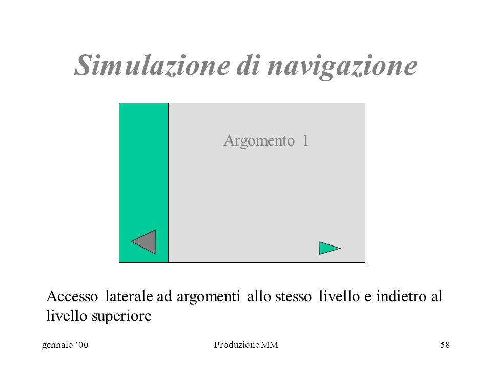 gennaio 00Produzione MM57 Simulazione di navigazione Argomento 1 Argomento 2 Argomento 3 Accesso in profondità e indietro al menù principale Sezione