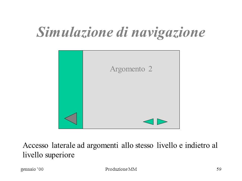 gennaio 00Produzione MM58 Simulazione di navigazione Accesso laterale ad argomenti allo stesso livello e indietro al livello superiore Argomento 1