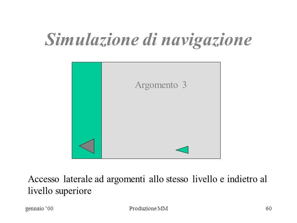 gennaio 00Produzione MM59 Simulazione di navigazione Accesso laterale ad argomenti allo stesso livello e indietro al livello superiore Argomento 2