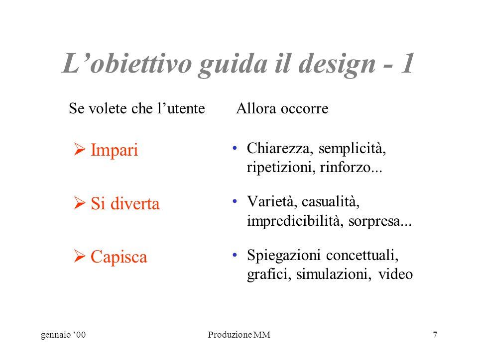 gennaio 00Produzione MM7 Lobiettivo guida il design - 1 Impari Si diverta Capisca Chiarezza, semplicità, ripetizioni, rinforzo...