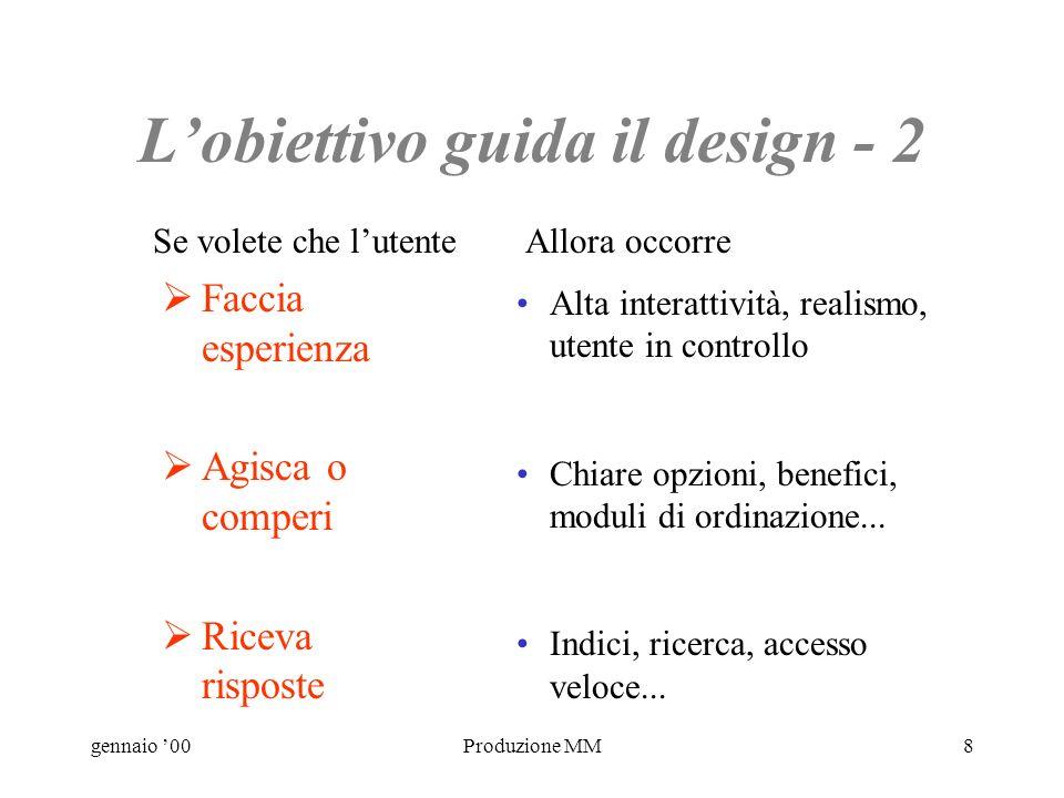 gennaio 00Produzione MM7 Lobiettivo guida il design - 1 Impari Si diverta Capisca Chiarezza, semplicità, ripetizioni, rinforzo... Varietà, casualità,