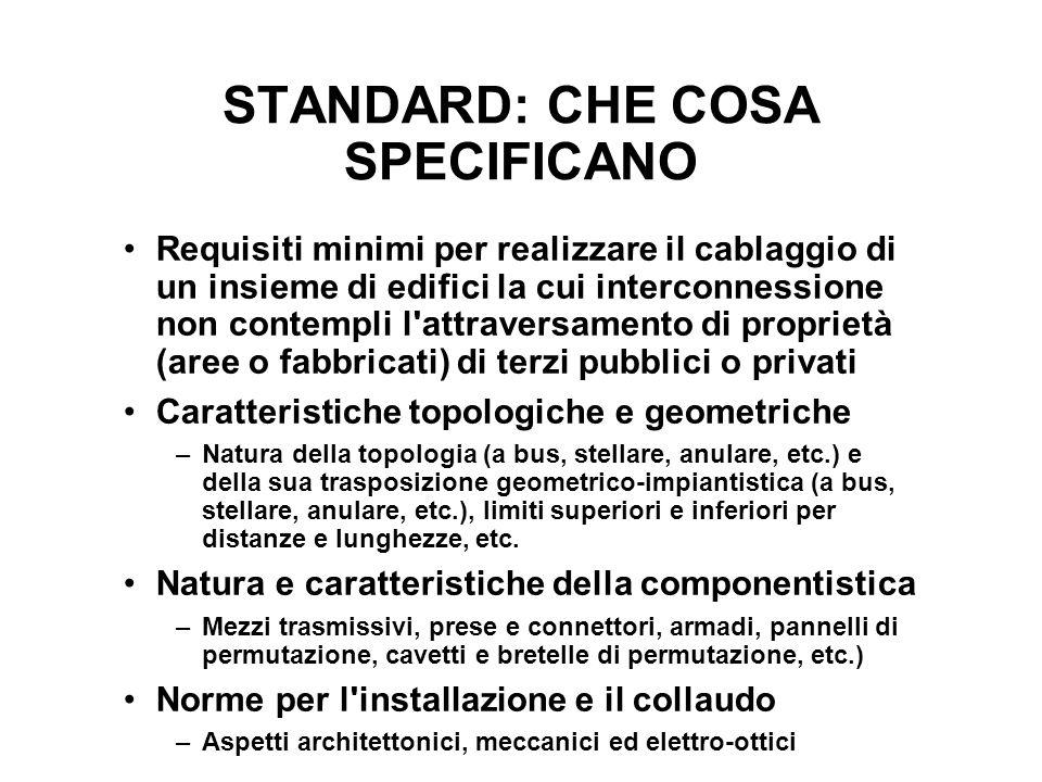 STANDARD: CHE COSA SPECIFICANO Requisiti minimi per realizzare il cablaggio di un insieme di edifici la cui interconnessione non contempli l'attravers