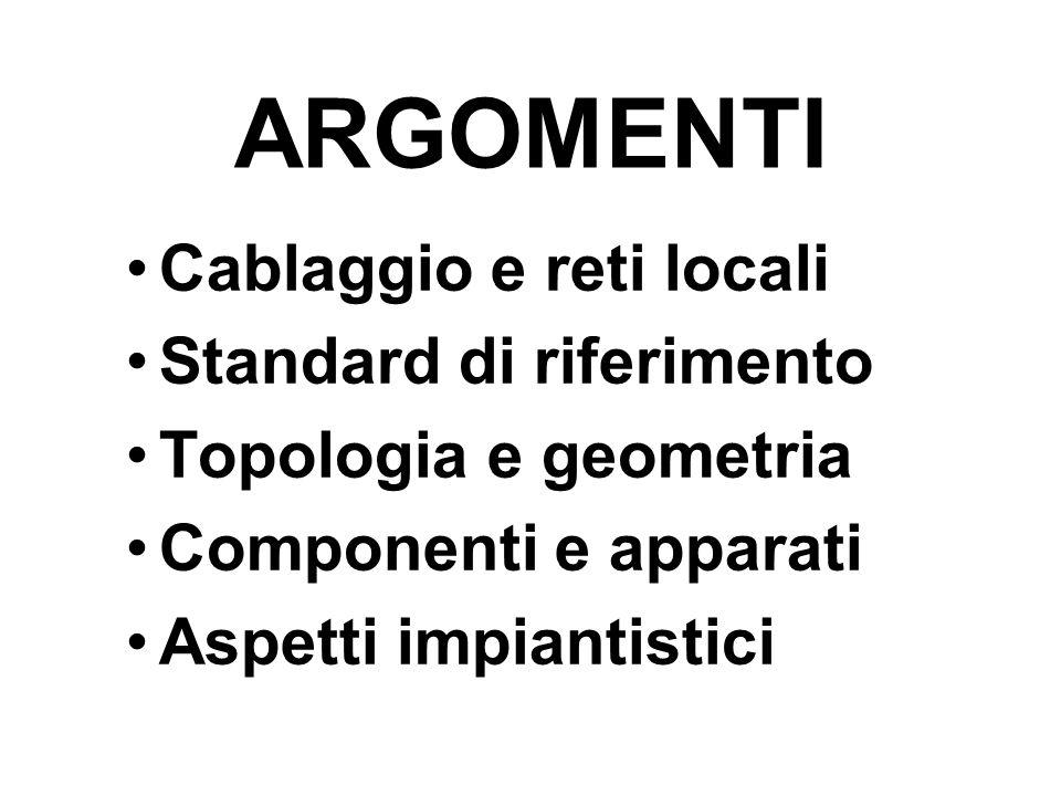 ARGOMENTI Cablaggio e reti locali Standard di riferimento Topologia e geometria Componenti e apparati Aspetti impiantistici
