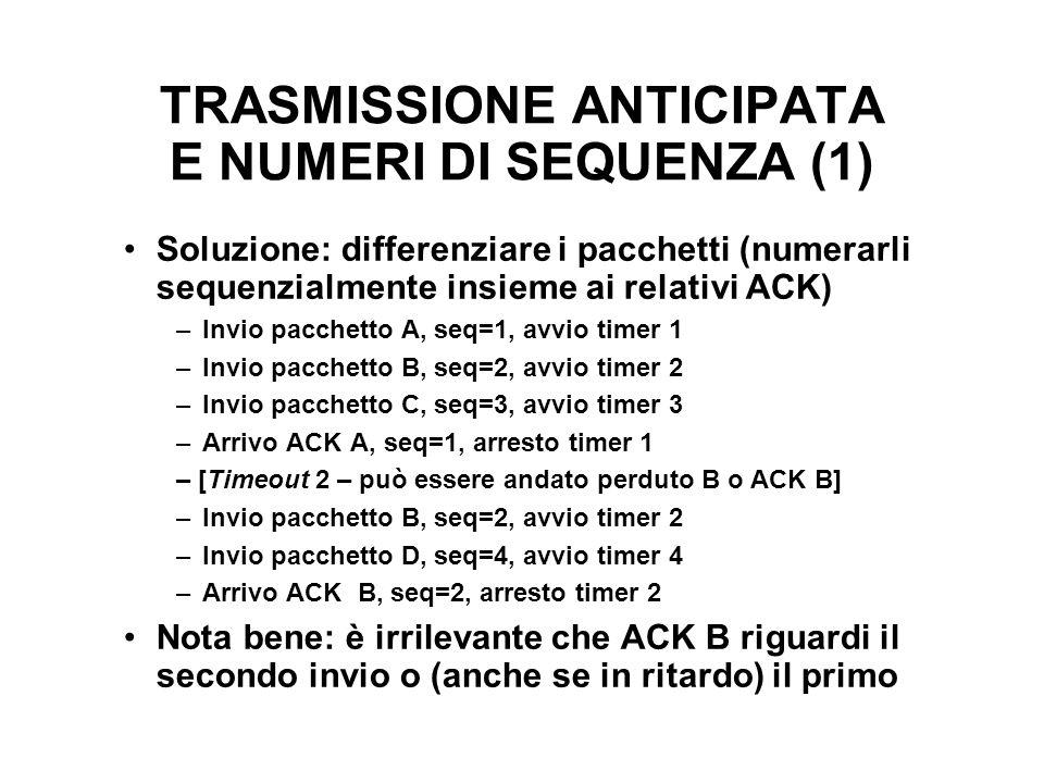 TRASMISSIONE ANTICIPATA E NUMERI DI SEQUENZA (1) Soluzione: differenziare i pacchetti (numerarli sequenzialmente insieme ai relativi ACK) –Invio pacch