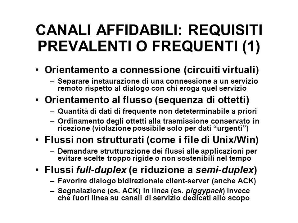 CANALI AFFIDABILI: REQUISITI PREVALENTI O FREQUENTI (1) Orientamento a connessione (circuiti virtuali) –Separare instaurazione di una connessione a un