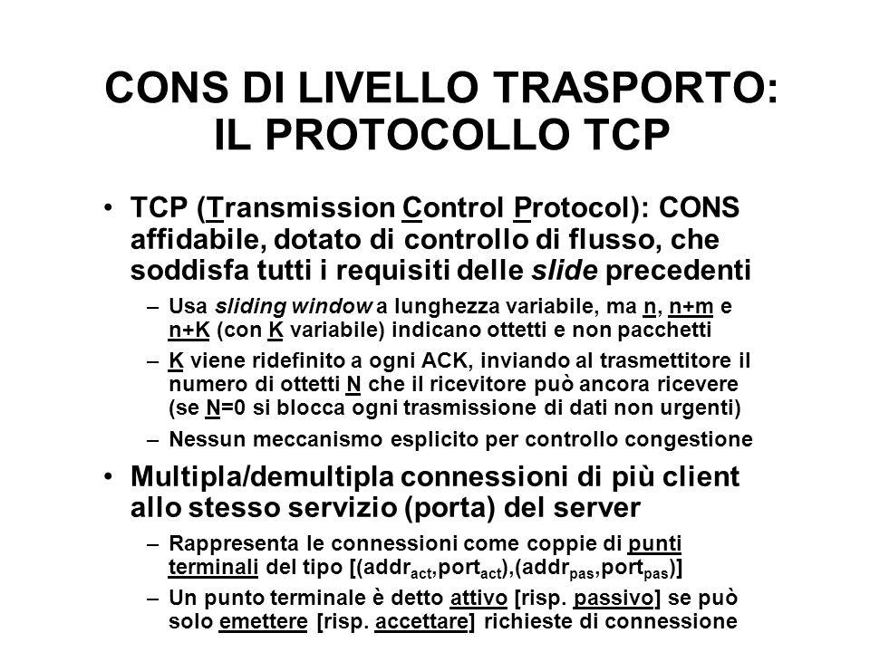 CONS DI LIVELLO TRASPORTO: IL PROTOCOLLO TCP TCP (Transmission Control Protocol): CONS affidabile, dotato di controllo di flusso, che soddisfa tutti i