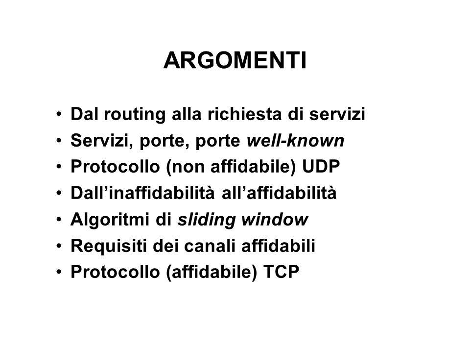 ARGOMENTI Dal routing alla richiesta di servizi Servizi, porte, porte well-known Protocollo (non affidabile) UDP Dallinaffidabilità allaffidabilità Al