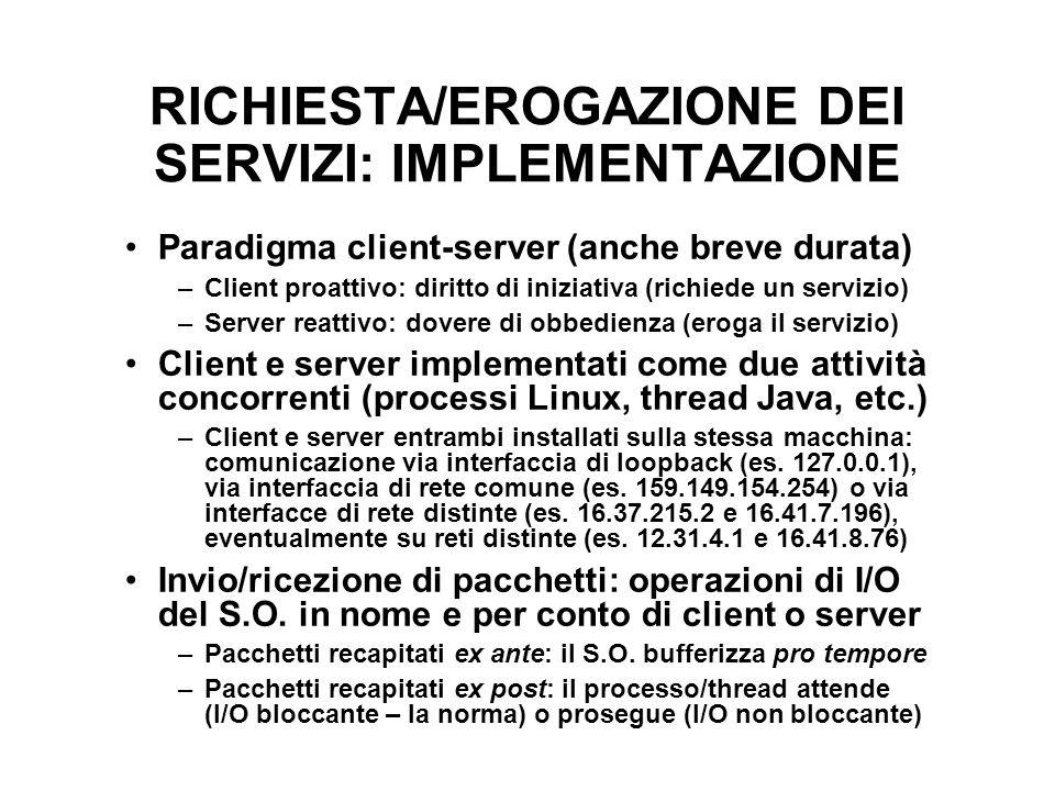 RICHIESTA/EROGAZIONE DEI SERVIZI: IMPLEMENTAZIONE Paradigma client-server (anche breve durata) –Client proattivo: diritto di iniziativa (richiede un s