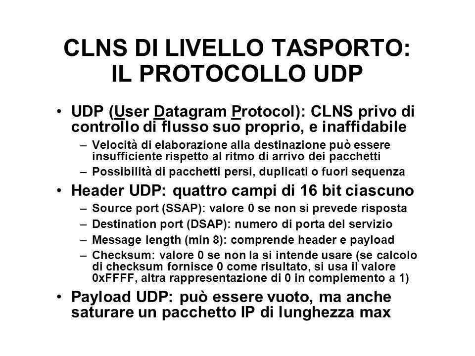 CLNS DI LIVELLO TASPORTO: IL PROTOCOLLO UDP UDP (User Datagram Protocol): CLNS privo di controllo di flusso suo proprio, e inaffidabile –Velocità di e