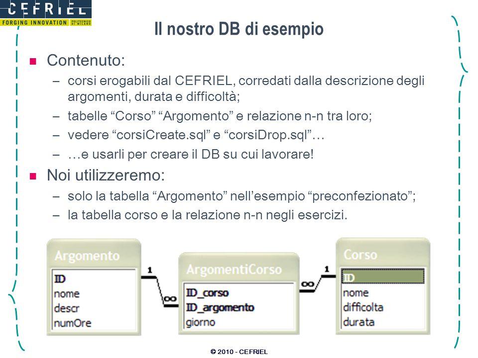 © 2010 - CEFRIEL Il nostro DB di esempio Contenuto: –corsi erogabili dal CEFRIEL, corredati dalla descrizione degli argomenti, durata e difficoltà; –t