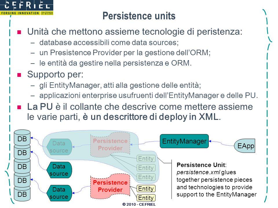 © 2010 - CEFRIEL Persistence units Unità che mettono assieme tecnologie di peristenza: –database accessibili come data sources; –un Presistence Provid