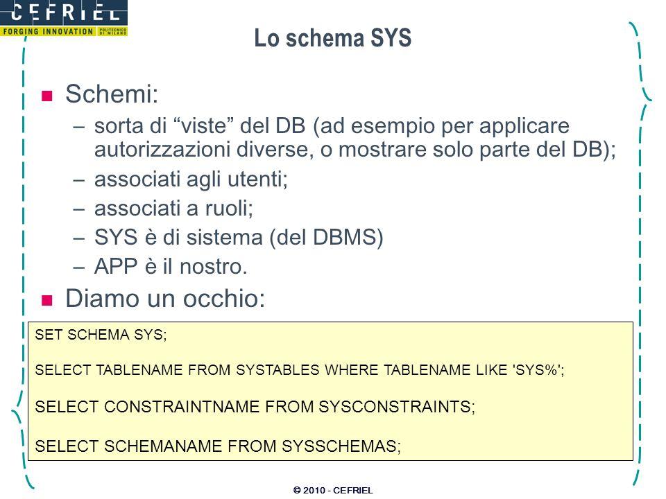 © 2010 - CEFRIEL Lo schema SYS Schemi: –sorta di viste del DB (ad esempio per applicare autorizzazioni diverse, o mostrare solo parte del DB); –associ