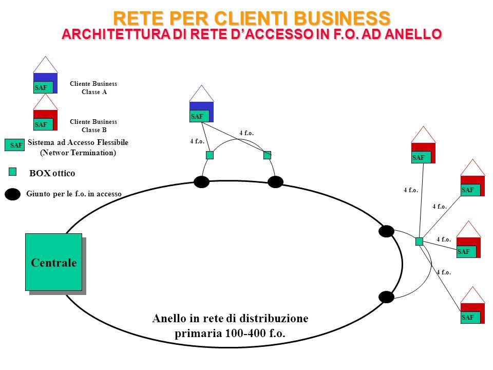 Anello in rete di distribuzione primaria 100-400 f.o. Centrale SAF 4 f.o. SAF BOX ottico Sistema ad Accesso Flessibile (Networ Termination) Giunto per