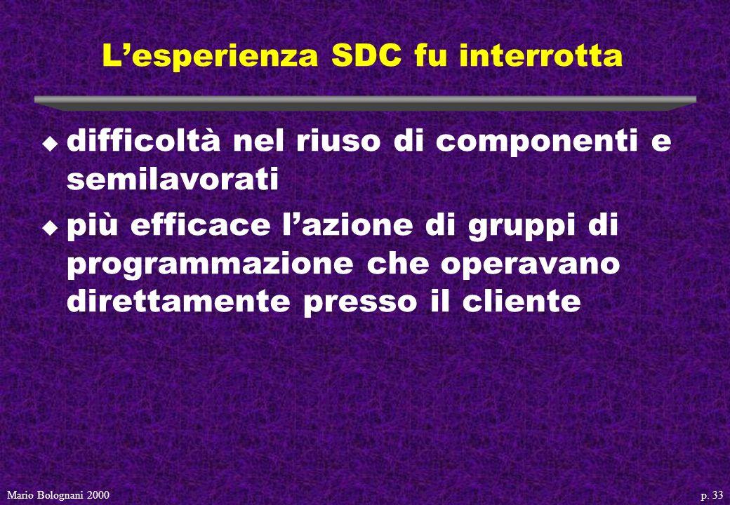 p. 33Mario Bolognani 2000 Lesperienza SDC fu interrotta u difficoltà nel riuso di componenti e semilavorati u più efficace lazione di gruppi di progra