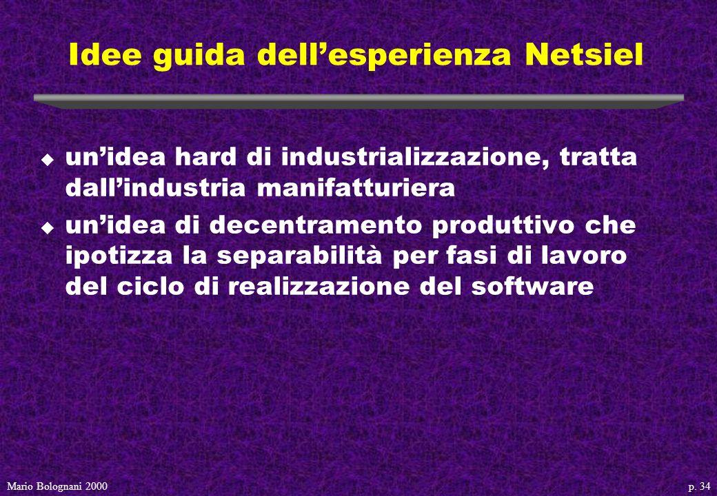 p. 34Mario Bolognani 2000 Idee guida dellesperienza Netsiel u unidea hard di industrializzazione, tratta dallindustria manifatturiera u unidea di dece