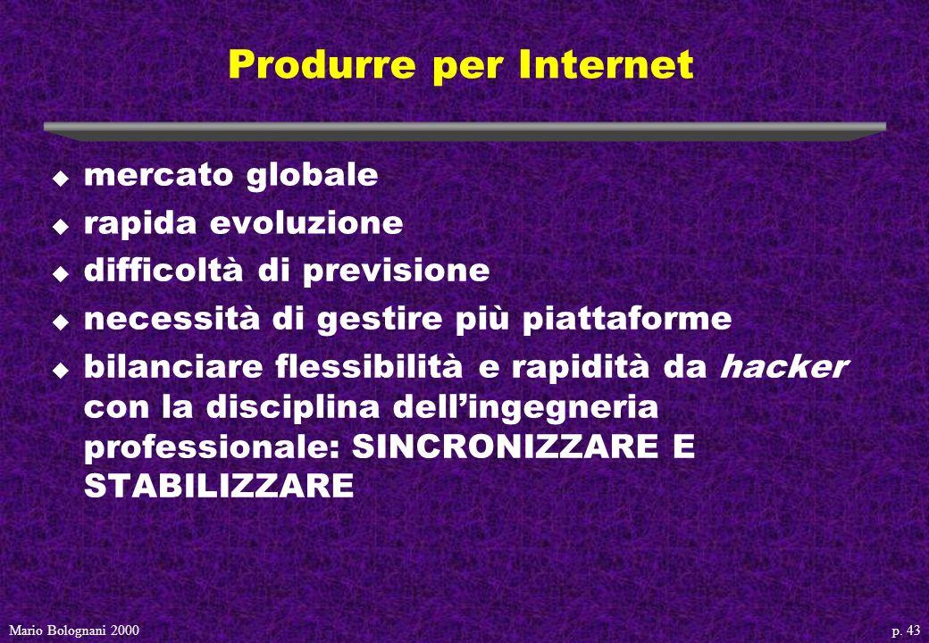 p. 43Mario Bolognani 2000 Produrre per Internet u mercato globale u rapida evoluzione u difficoltà di previsione u necessità di gestire più piattaform