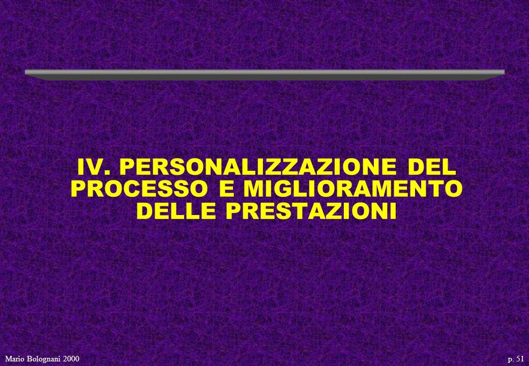 p. 51Mario Bolognani 2000 IV. PERSONALIZZAZIONE DEL PROCESSO E MIGLIORAMENTO DELLE PRESTAZIONI