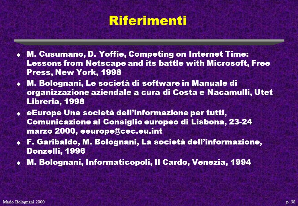 p.58Mario Bolognani 2000 Riferimenti u M. Cusumano, D.
