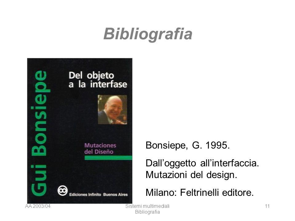 AA 2003/04Sistemi multimediali Bibliografia 11 Bibliografia Bonsiepe, G. 1995. Dalloggetto allinterfaccia. Mutazioni del design. Milano: Feltrinelli e