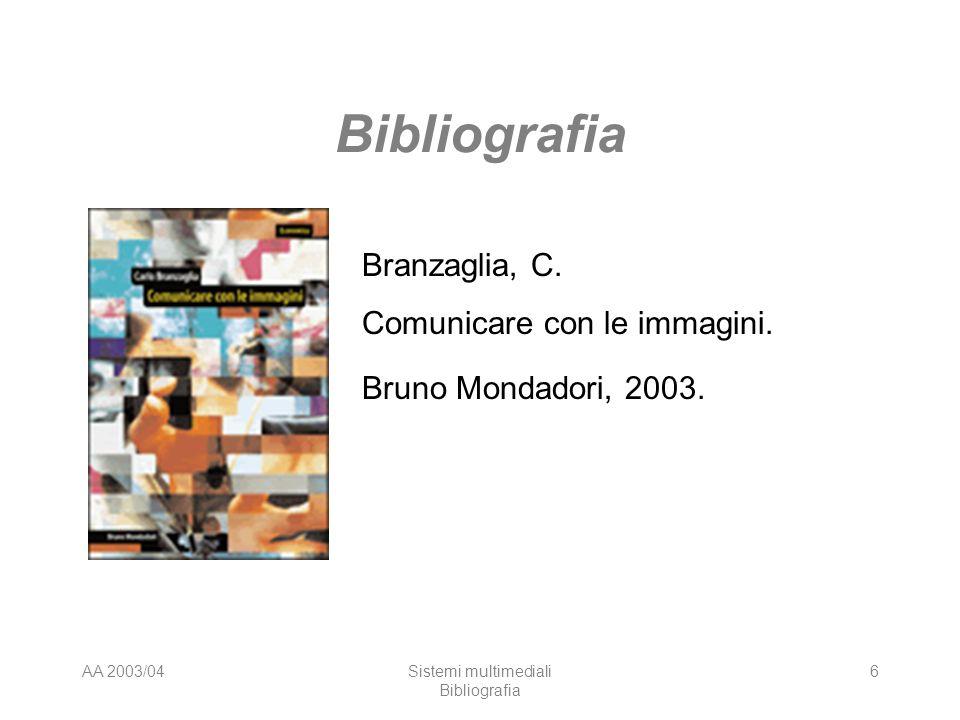 AA 2003/04Sistemi multimediali Bibliografia 6 Branzaglia, C. Comunicare con le immagini. Bruno Mondadori, 2003.